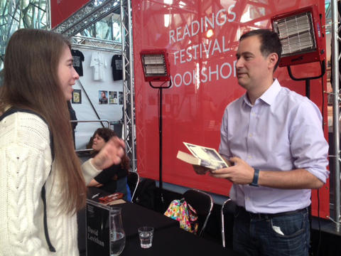 David Levithan signing books at MWF