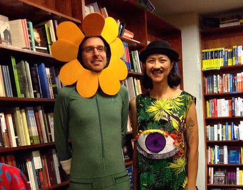 Leanne Hall and Andrew McDonald dressed up at the launch of Iris and the Tiger in Readings, Carlton