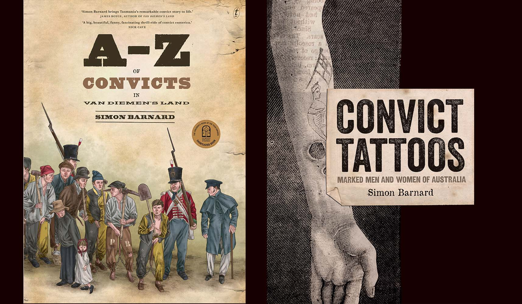 Book Covers for A-Z of Convicts in Van Diemen's Land and Convict Tattoos