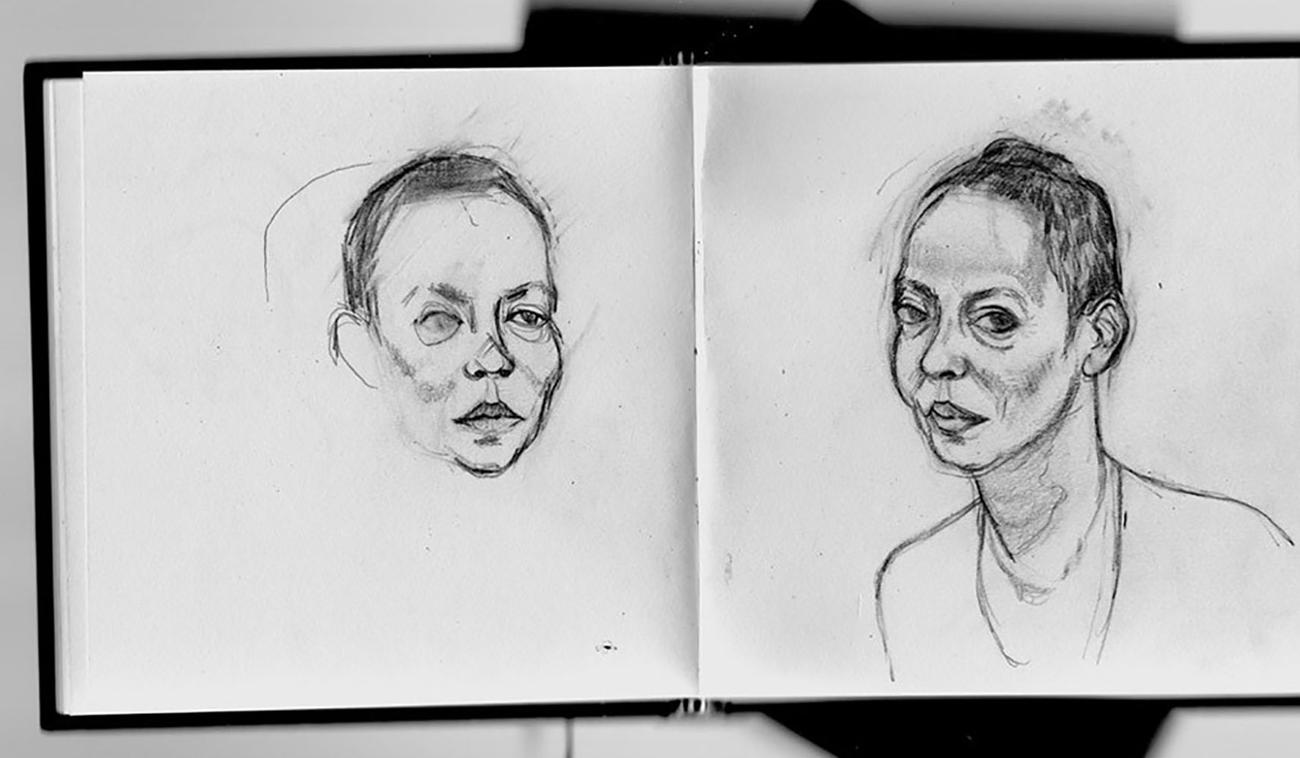 Sketchbook drawings of Michelle de Kretser