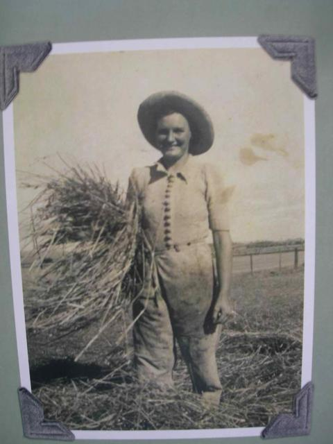 A young Marjorie Bligh hard at work in the fields