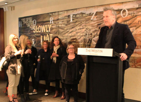 Michael Heyward speaking at the launch of Reckoning by Magda Szubanski