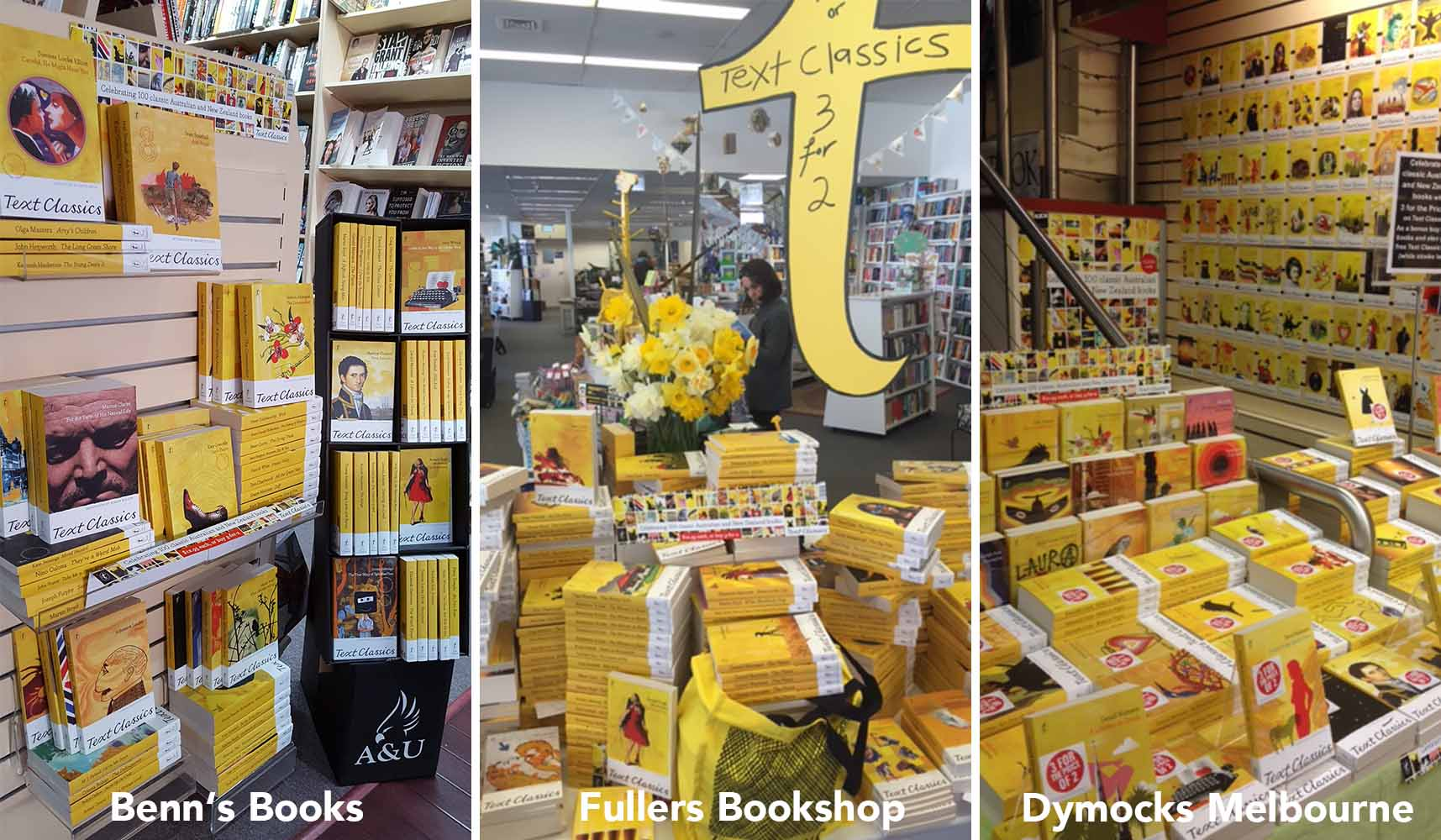 Bookshop displays of the Text Classics