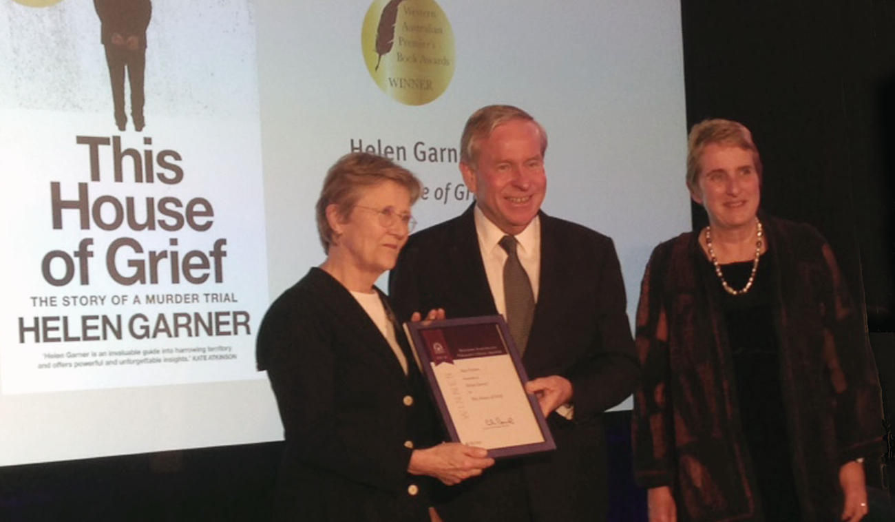 Helen Garner receiving the 2016 WA Premier's Book Award