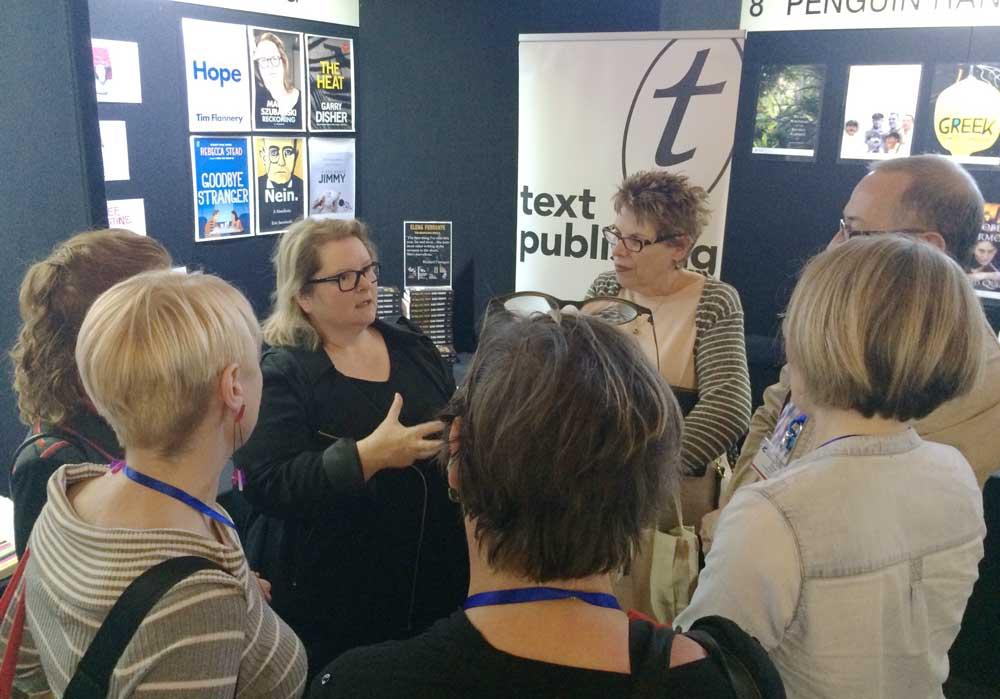 Magda Szubanski talking to booksellers.