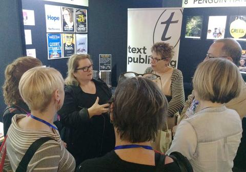 Magda Szubanski talking to booksellers.